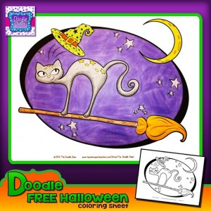 Preview FREEBIE Halloween Doodle Coloring Sheets B