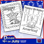 PREVIEW of Doodle Fourth of July Coloring sheets 2015 TDO