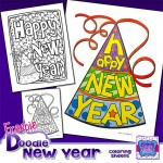 Preview Lo Res New Years Doodle Coloring Sheets