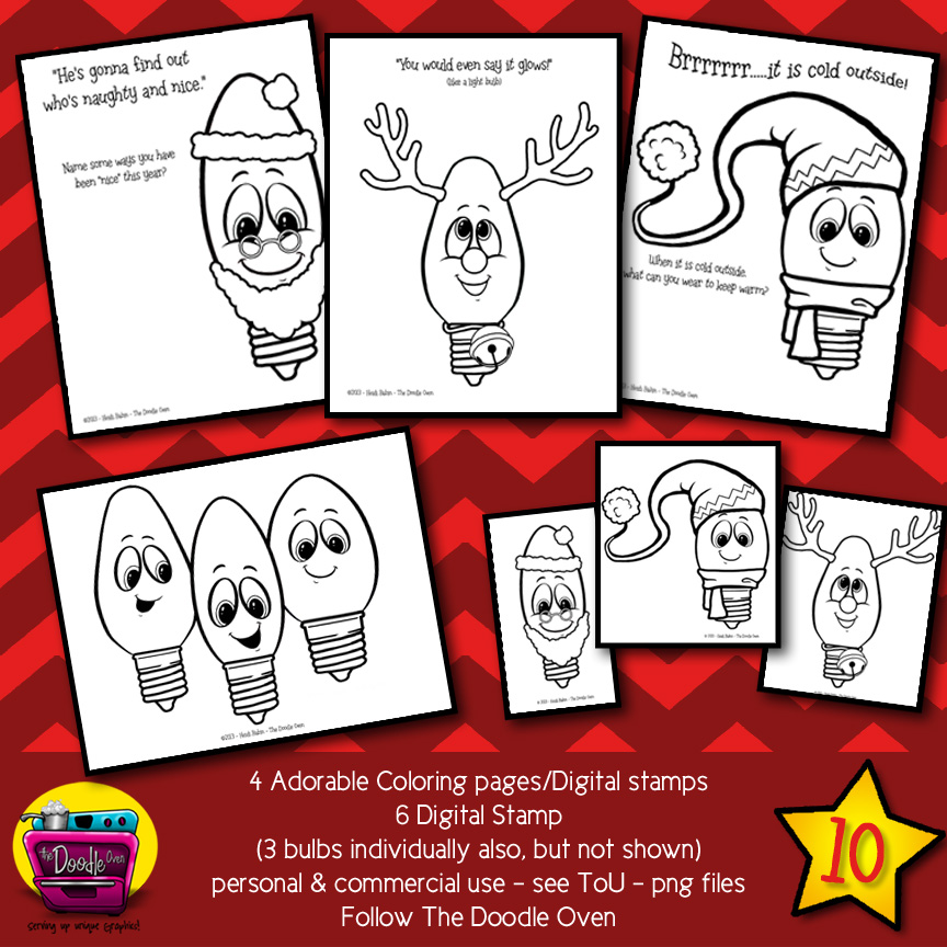 Christmas Light Bulb {Coloring sheets and Digital Stamps}