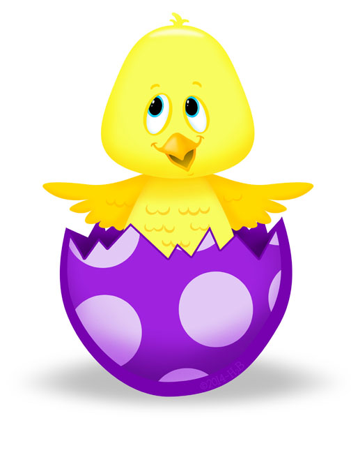 PREVIEW Easter Egg Polka dotted Violet chick breaking out