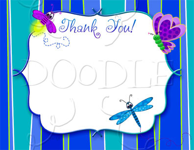 PREVIEW Postcard Thank you note – 4.25×5.5 Insect BLANK TEMPLATE