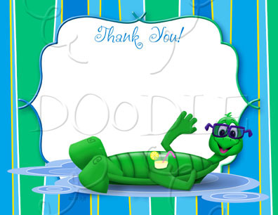 PREVIEW Postcard Thank you note – 4.25×5.5 Turtle floating BLANK TEMPLATE