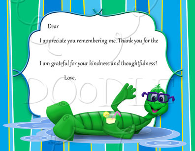 PREVIEW Postcard Thank you note – 4.25×5.5 Turtle floating
