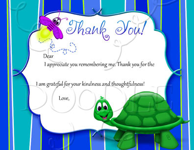 PREVIEW Postcard Thank you note – 4.25×5.5 Turtle standing Fill in the Blank