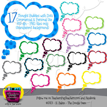 Speech-Thought Clouds with polka dots bundle preview