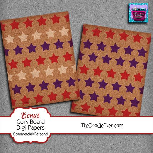 Preview Cork Board BONUS Patriotic star digi papers