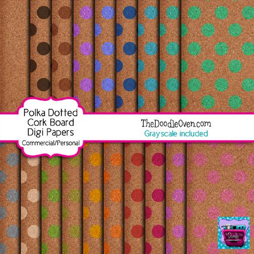 Preview Cork Board polka dot digi papers
