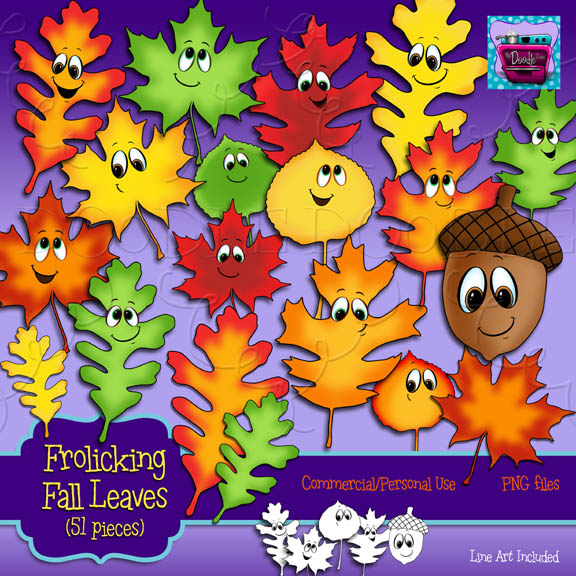 PREVIEW 3 of Frolicking Fall Leaves (full set) – The Doodle Oven