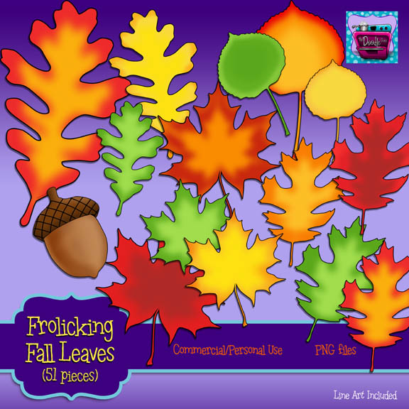 PREVIEW 4 of Frolicking Fall Leaves (full set) NO FACES – The Doodle Oven