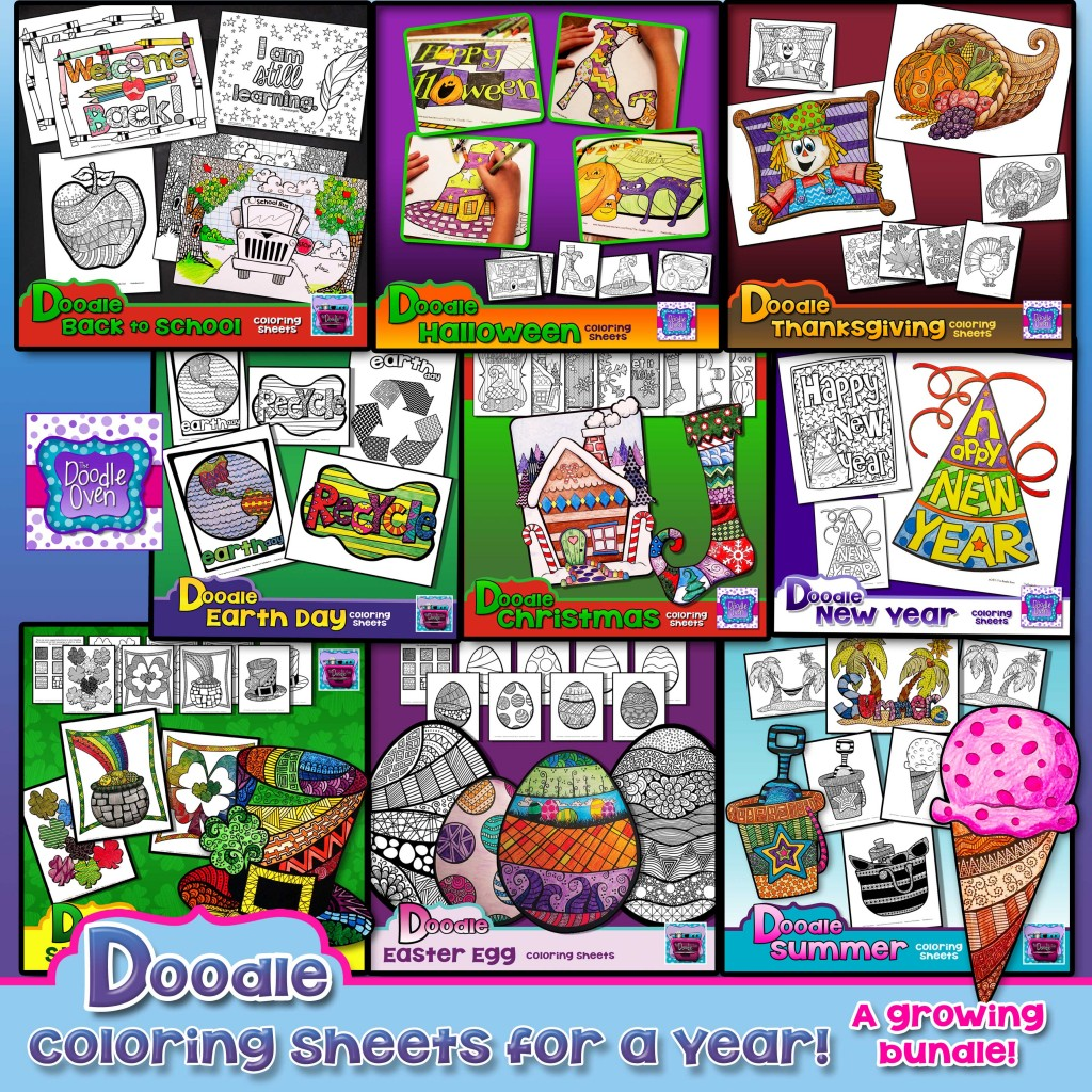 Preview PDF Doodle Coloring Sheets for a Year (12-20-15)