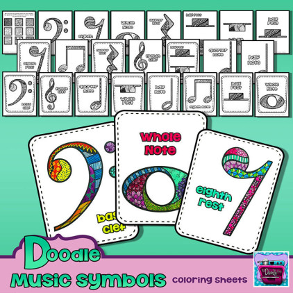 PREVIEW  FB of Doodle Music Coloring sheets 2015 TDO