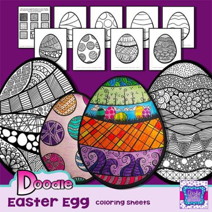 PREVIEW Updated 6-28-15 Doodle Easter Egg Coloring sheets 2015 TDO