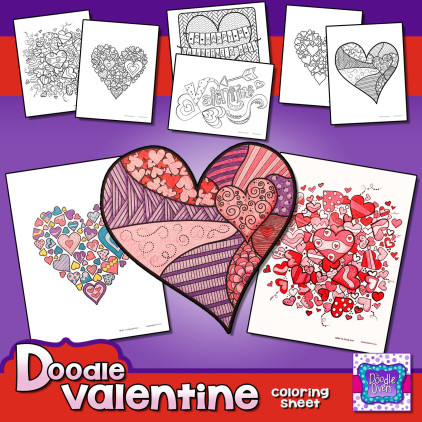 Preview PDF Valentine Doodle Coloring Sheets