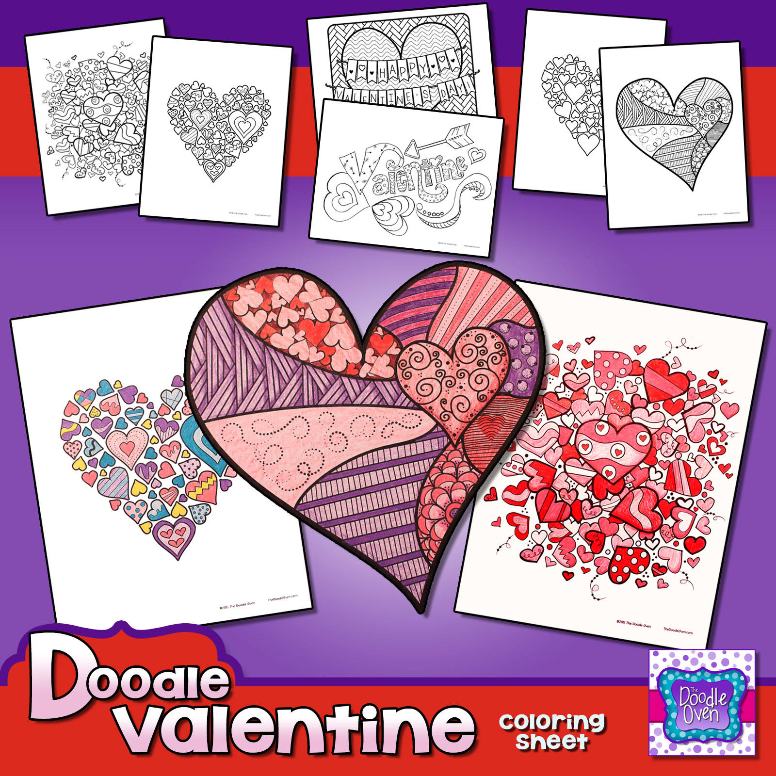 doodle coloring pages for a year instant digital download