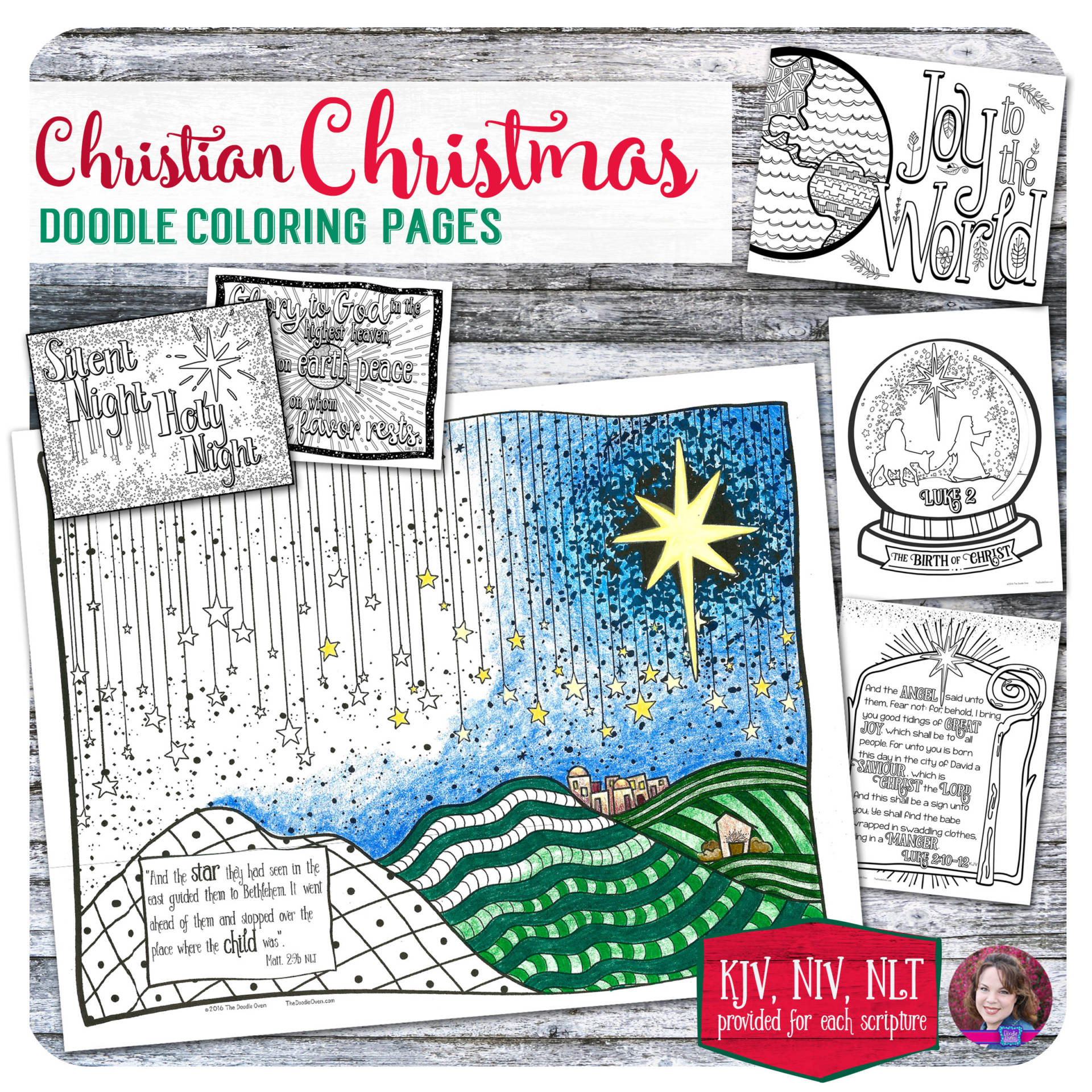 Christian Christmas Doodle Coloring Pages – 6 designs – Heidi Babin
